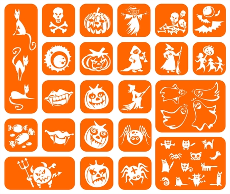 White symbols of a Halloween on an orange background: pumpkins, witches, cats, spiders, vampires, ghosts, sweets and monsters. Vector