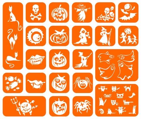 attribute: Witte symbolen van een Halloween op een oranje achtergrond: pompoenen, heksen, katten, spinnen, vampieren, geesten, snoepjes en monsters. Stock Illustratie