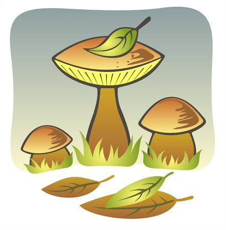 Three stylized mushrooms and fallen down leaves on a grey background. Stock Vector - 1894129