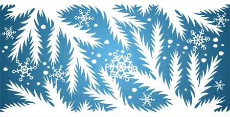 simplify: White silhouettes of fur-tree branches, snowflakes and snows on a dark blue background.