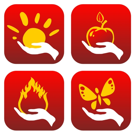 Four stylized hands hold the sun, an apple, fire and the butterfly.