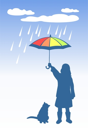 The girl and cat have hidden from a rain under a umbrella. Vector