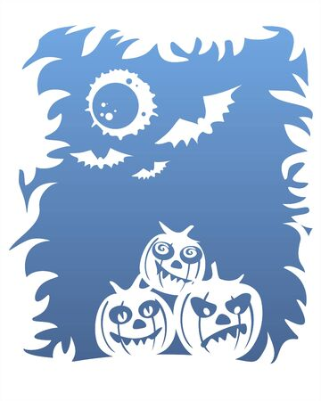 White silhouettes of three pumpkins, bats and the moon on a dark blue background. Vector