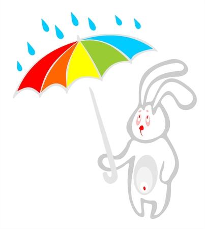 The sad white rabbit has hidden under a umbrella from a rain. Stock Vector - 1894111