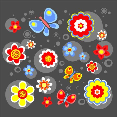 The bright stylized flowers and circles on a dark grey background.
