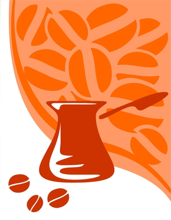 vivacity: Silhouette of a coffee maker on a background of the stylized coffee bean.