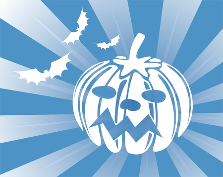 The white stylized silhouettes of a pumpkin and three bats on a dark blue striped background. Vector