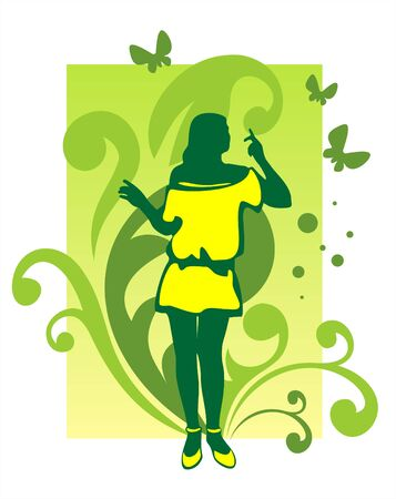 Dark female silhouette on a green background with a vegetative ornament and butterflies. Stock Vector - 1904594