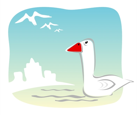 The city goose on a background of silhouettes of buildings looks in a trace to departing birds. Illustration
