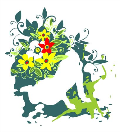 White silhouette of the girl on a grunge green flowers background.