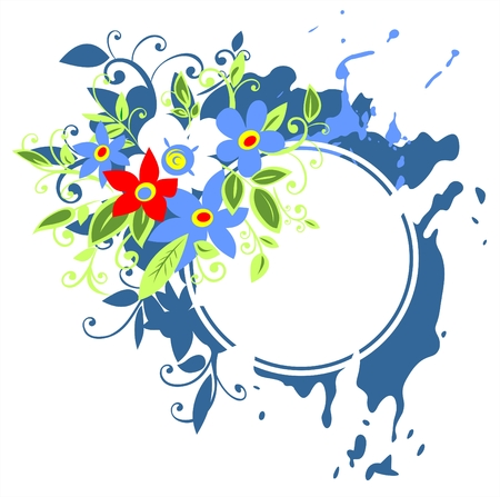 White frame on a blue grunge flowers background. Vector