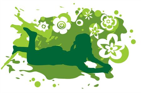 Dark green silhouette of the girl on a grunge green flowers background. Illustration