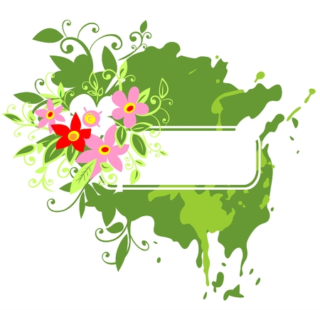White frame on a green grunge background with pink flowers. Vector