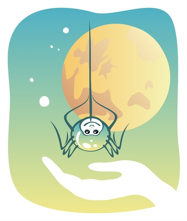 The stylized spider who is going down in a hand on a background of the moon. Vector