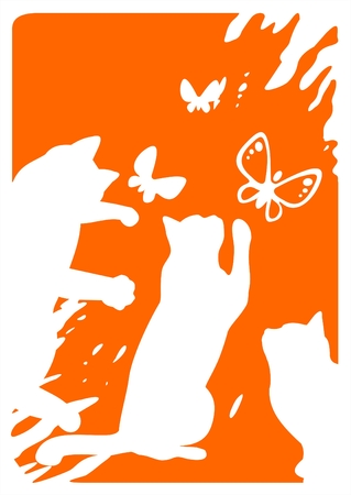 White silhouettes of the three cats  and flying butterflies on a grunge orange background. Illustration