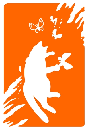 fondly: White silhouette of the cat catching butterflies on a grunge orange background.