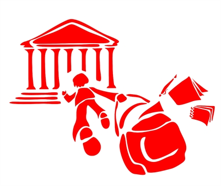 Red stylized image of the child running in school with books dropping out of a school bag. Illustration