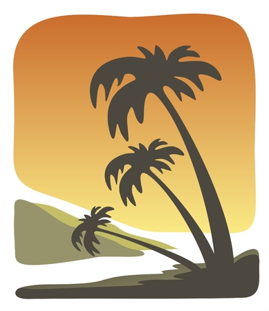 decline: Dark silhouettes of three palm trees on a background of a tropical decline.