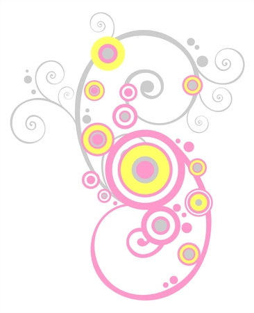Grey and pink curls and circles on a white background. Vector