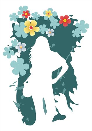 White female silhouette on a grunge green background. Vector