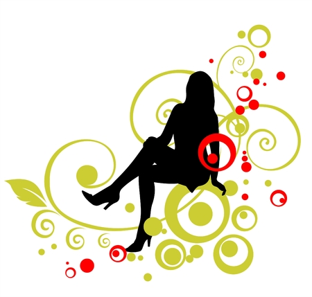 Black woman silhouette on a green curls and red circles background.