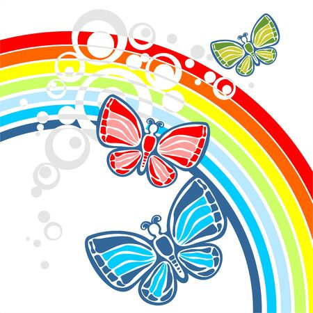 Three butterflies on a background of a rainbow and circles. Vector