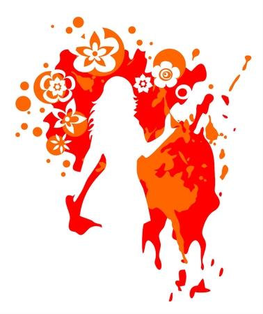 claret: White female silhouette on a grunge claret background.