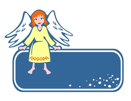The dark blue frame with a sitting angel on a white background.