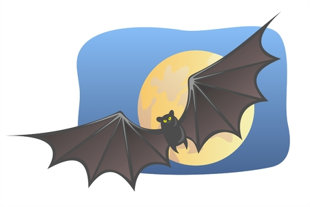 Bat on a background the moon and the night sky. Vector