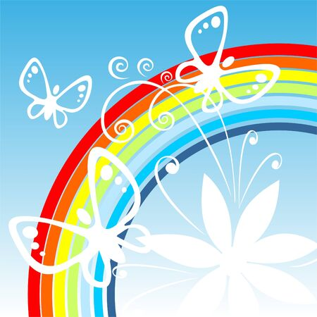 White silhouettes of flowers and butterflies on a background of a rainbow.