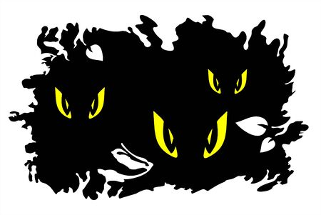 simplify: Yellow eyes of predators on a black grunge background. Halloween illustration.
