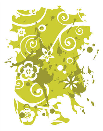 vegetative: Green grunge background with decorative vegetative curls and flowers. Illustration