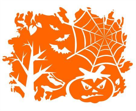 spinnennetz: B�ume, Spinnennetz, Flederm�use und ein K�rbis auf einem orangefarbenen Hintergrund grunge. Illustration