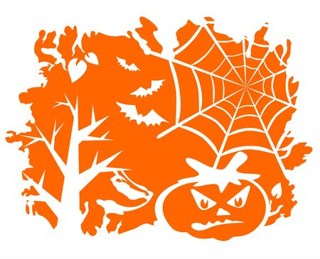 Trees, cobweb, bats and a pumpkin on an orange grunge background. Vector