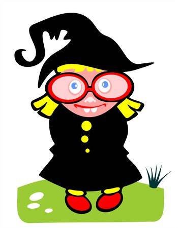 sorcery: The amusing little girl in a suit of a witch on a white background. Halloween illustration.