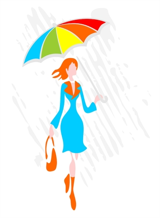 The stylized woman with a umbrella goes under a rain. Vector