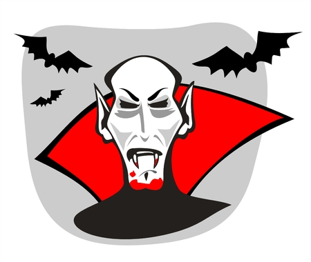 harm: The vampire with bloody canines and bats on a grey background. Halloween illustration.