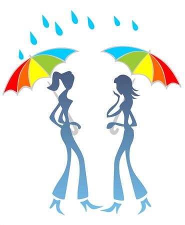 Two stylized girls under umbrellas talk under a rain. Vector