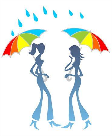 talker: Two stylized girls under umbrellas talk under a rain.