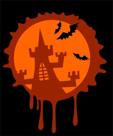 vereenvoudigen: Silhouet van de oude sluis op de achtergrond van de gestileerde maan en vleermuizen.  Stock Illustratie