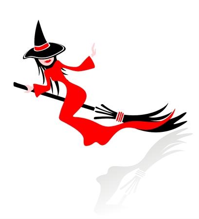 attribute: De mooie heks in een rode jurk vliegt op bezem. Halloween illustratie. Stock Illustratie