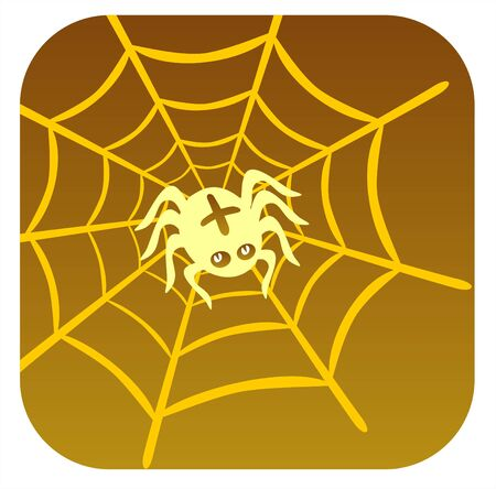 The stylized spider spins a cobweb on a brown background. Halloween illustration. Vector