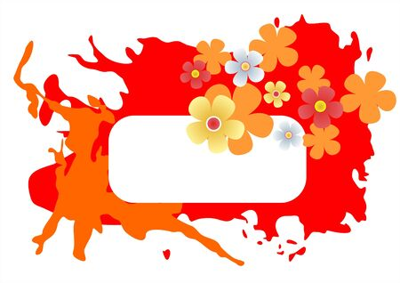simplify: White frame on a red grunge blots background with flowers.