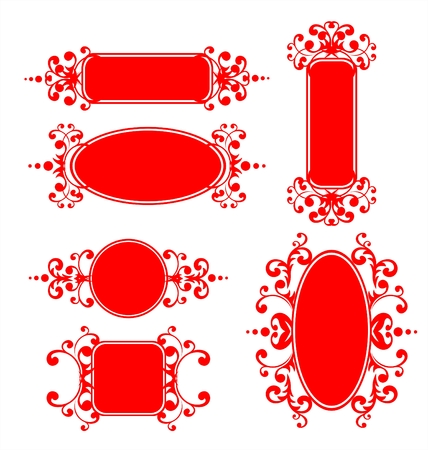 vegetative: Six red decorative frames with a vegetative ornament.