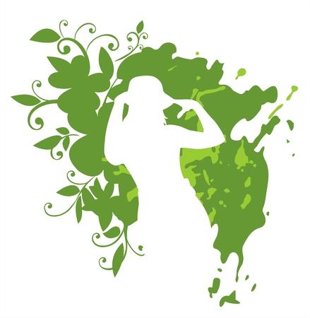 White female silhouette on a green grunge vegetative background. Stock Vector - 1969561