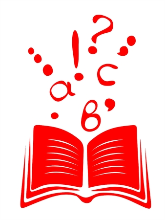 comma: The symbolical image of the red open book with letters taking off from it and punctuation marks.