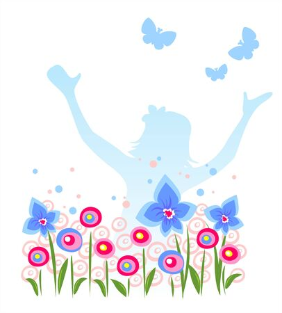 Blue silhouette of the girl with flowers and butterflies on a white background.