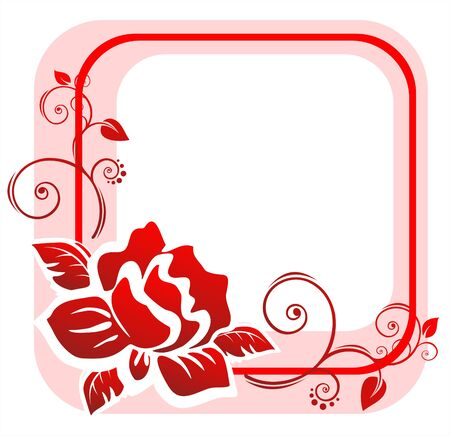 The pink frame from the red stylized rose with decorative curls. Illustration