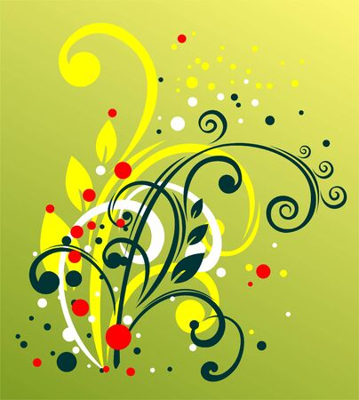 graceful: Green, yellow and white vegetative curls on a green background with yellow and red points. Illustration