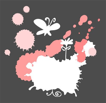 White and pink blots, flower and the butterfly on a black background. Vector